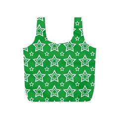 Green White Star Line Space Full Print Recycle Bags (S)