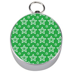 Green White Star Line Space Silver Compasses