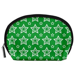 Green White Star Line Space Accessory Pouches (Large)