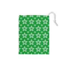 Green White Star Line Space Drawstring Pouches (Small)