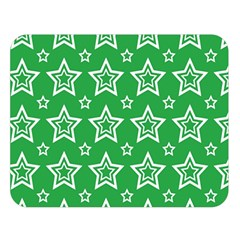 Green White Star Line Space Double Sided Flano Blanket (Large)
