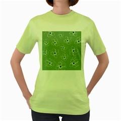 Floral Flower Rose Sunflower Grey Women s Green T-Shirt
