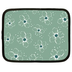 Floral Flower Rose Sunflower Grey Netbook Case (XL)