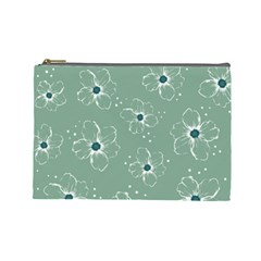 Floral Flower Rose Sunflower Grey Cosmetic Bag (Large)