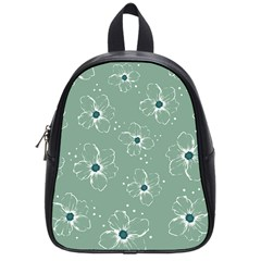 Floral Flower Rose Sunflower Grey School Bags (Small)