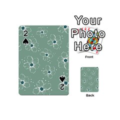 Floral Flower Rose Sunflower Grey Playing Cards 54 (Mini)