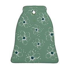 Floral Flower Rose Sunflower Grey Bell Ornament (Two Sides)