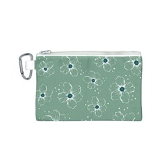 Floral Flower Rose Sunflower Grey Canvas Cosmetic Bag (S)