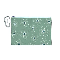Floral Flower Rose Sunflower Grey Canvas Cosmetic Bag (M)