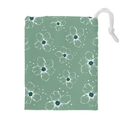 Floral Flower Rose Sunflower Grey Drawstring Pouches (Extra Large)