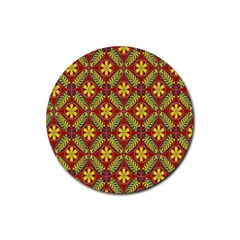 Abstract Yellow Red Frame Flower Floral Rubber Coaster (Round)