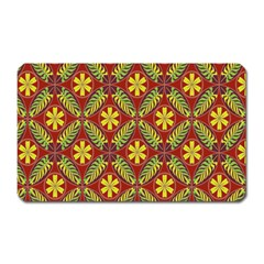 Abstract Yellow Red Frame Flower Floral Magnet (Rectangular)