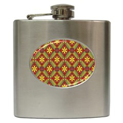 Abstract Yellow Red Frame Flower Floral Hip Flask (6 oz)