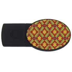Abstract Yellow Red Frame Flower Floral Usb Flash Drive Oval (2 Gb)
