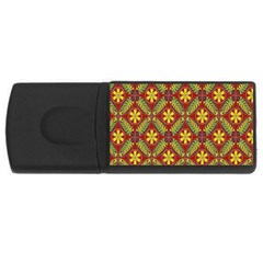 Abstract Yellow Red Frame Flower Floral USB Flash Drive Rectangular (2 GB)