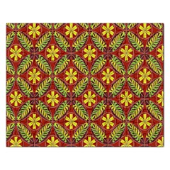 Abstract Yellow Red Frame Flower Floral Rectangular Jigsaw Puzzl