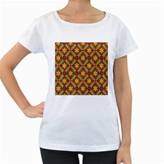 Abstract Yellow Red Frame Flower Floral Women s Loose-Fit T-Shirt (White)
