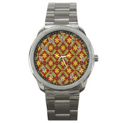 Abstract Yellow Red Frame Flower Floral Sport Metal Watch