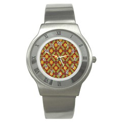 Abstract Yellow Red Frame Flower Floral Stainless Steel Watch