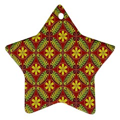 Abstract Yellow Red Frame Flower Floral Star Ornament (Two Sides)
