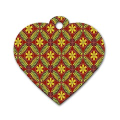 Abstract Yellow Red Frame Flower Floral Dog Tag Heart (One Side)