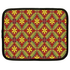 Abstract Yellow Red Frame Flower Floral Netbook Case (Large)