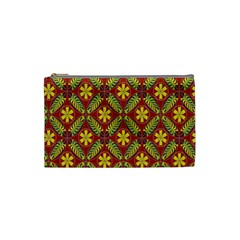 Abstract Yellow Red Frame Flower Floral Cosmetic Bag (Small)