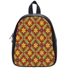 Abstract Yellow Red Frame Flower Floral School Bags (small)