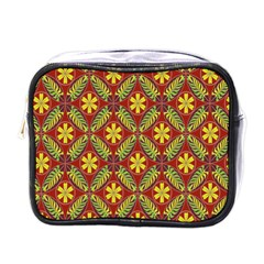 Abstract Yellow Red Frame Flower Floral Mini Toiletries Bags