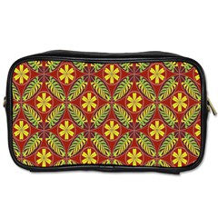 Abstract Yellow Red Frame Flower Floral Toiletries Bags 2-Side