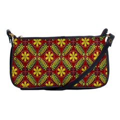 Abstract Yellow Red Frame Flower Floral Shoulder Clutch Bags