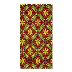 Abstract Yellow Red Frame Flower Floral Shower Curtain 36  x 72  (Stall)