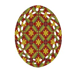 Abstract Yellow Red Frame Flower Floral Oval Filigree Ornament (two Sides)