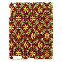 Abstract Yellow Red Frame Flower Floral Apple iPad 3/4 Hardshell Case