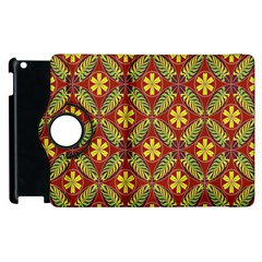 Abstract Yellow Red Frame Flower Floral Apple iPad 2 Flip 360 Case