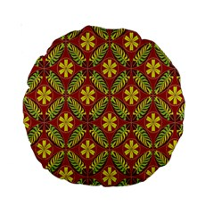 Abstract Yellow Red Frame Flower Floral Standard 15  Premium Round Cushions