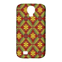 Abstract Yellow Red Frame Flower Floral Samsung Galaxy S4 Classic Hardshell Case (PC+Silicone)