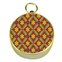 Abstract Yellow Red Frame Flower Floral Gold Compasses