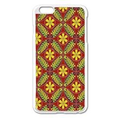 Abstract Yellow Red Frame Flower Floral Apple iPhone 6 Plus/6S Plus Enamel White Case