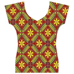 Abstract Yellow Red Frame Flower Floral Women s V-Neck Cap Sleeve Top