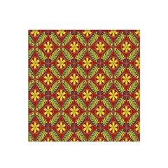 Abstract Yellow Red Frame Flower Floral Satin Bandana Scarf