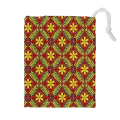 Abstract Yellow Red Frame Flower Floral Drawstring Pouches (Extra Large)
