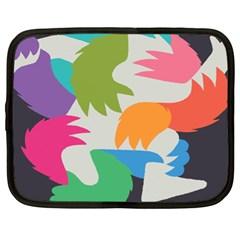 Hand Rainbow Blue Green Pink Purple Orange Monster Netbook Case (XL)