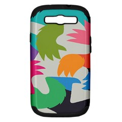 Hand Rainbow Blue Green Pink Purple Orange Monster Samsung Galaxy S III Hardshell Case (PC+Silicone)