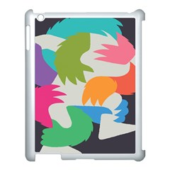 Hand Rainbow Blue Green Pink Purple Orange Monster Apple iPad 3/4 Case (White)