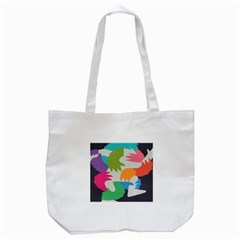 Hand Rainbow Blue Green Pink Purple Orange Monster Tote Bag (White)