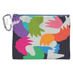 Hand Rainbow Blue Green Pink Purple Orange Monster Canvas Cosmetic Bag (XXL)
