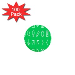 Icon Sign Green White 1  Mini Buttons (100 Pack)