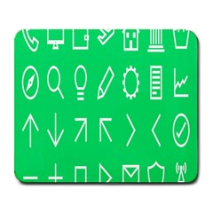 Icon Sign Green White Large Mousepads