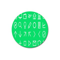 Icon Sign Green White Magnet 3  (Round)